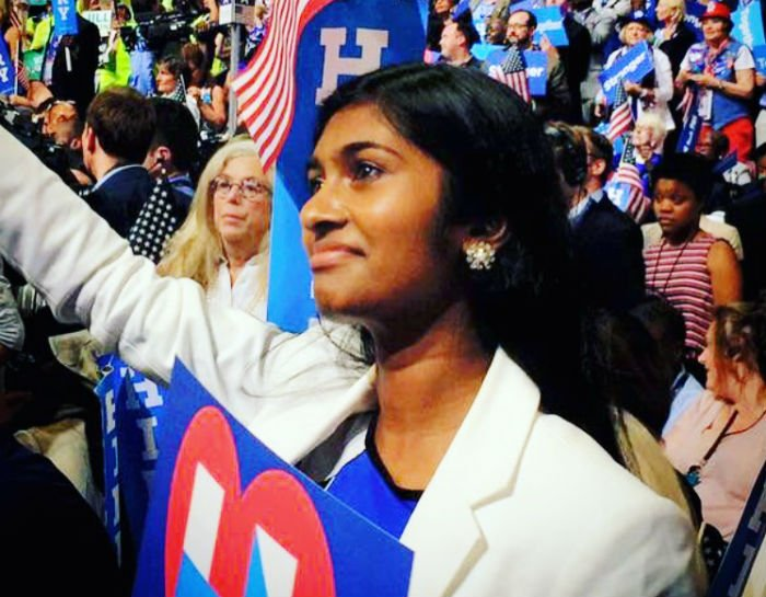 Sruthi on the floor at the DNC